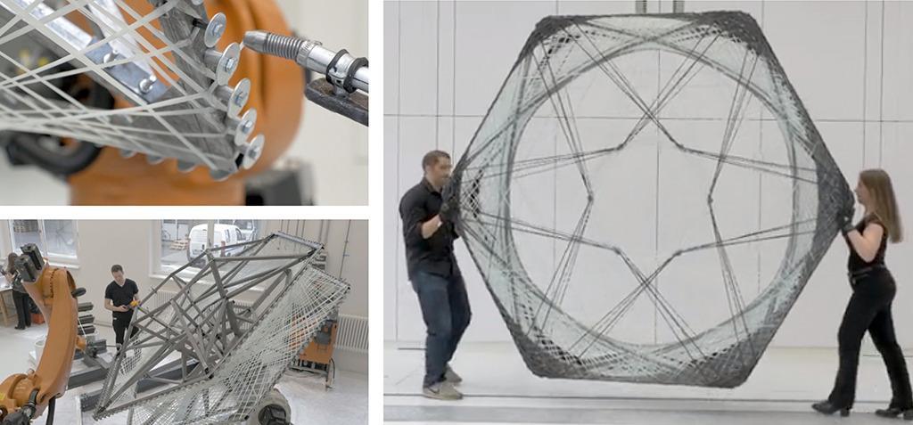 Der Roboter wickelt die Fasern im Affenzahn um die Wickelschablone – das einzelne Dachelement ist leicht zu transportieren. (Bilder: ICD Stuttgart)