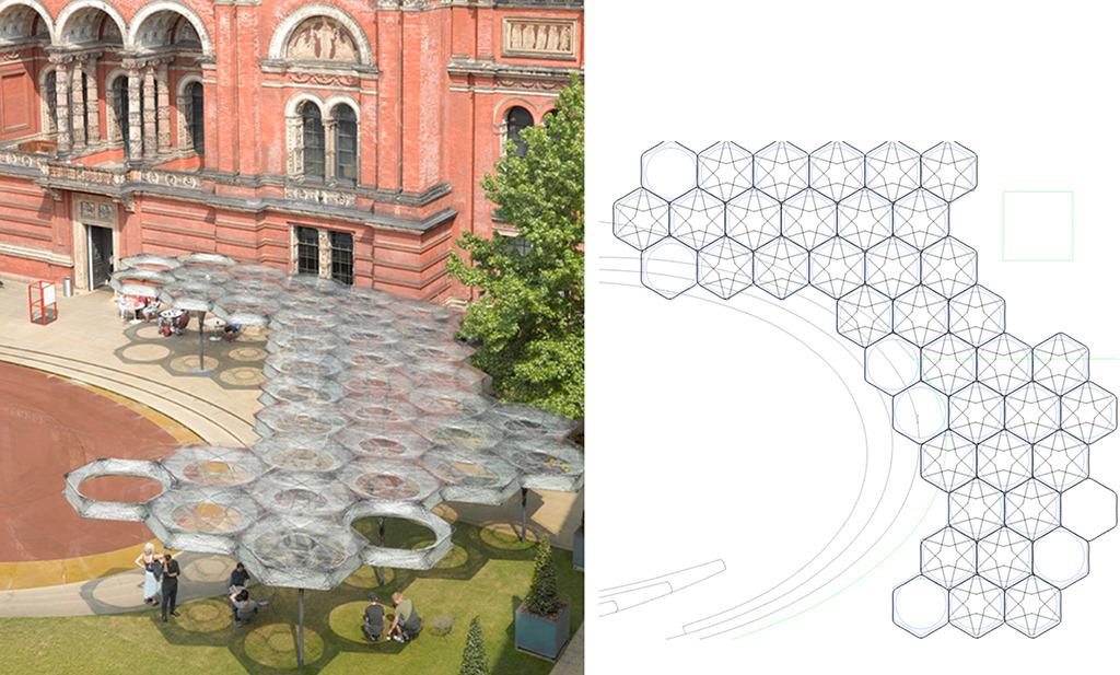 Premiere in London 2016: Der Pavillon entstand im Hof des Vitoria & Albert Museums (Bild: Roland Halbe)
