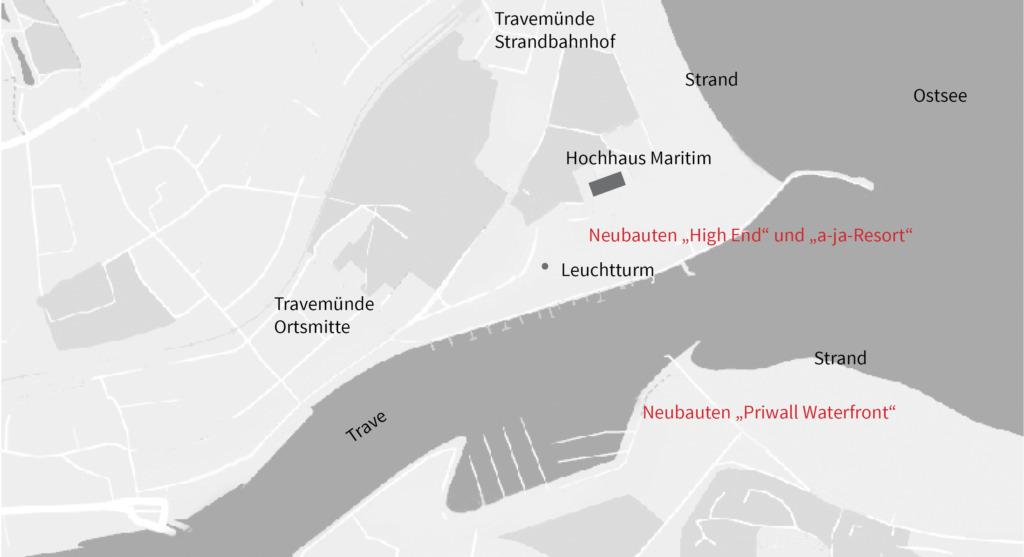 """Die Travemündung mit nordwestlichem Strand (Maritim und """"High End"""") sowie dem Bootshafen und der """"Priwall Waterfront"""" auf der südöstlichen Seite (Skizze: frei04 publizistik)"""
