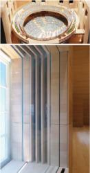 Oben: Konstruktionsmodell des Saals. Darunter: Schallschutz fordert aufwändig konstruierte Fenster (Bild: Ursula Baus)