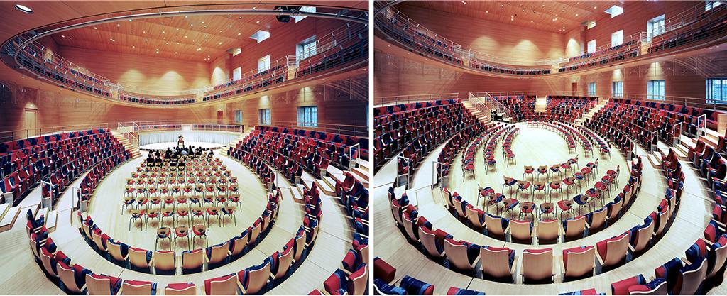 Zwei von mehreren Varianten der Bestuhlung und Bühnenanordnung (Bilder: Volker Kreidler)