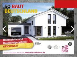 Anzeige eines Fertighausanbieters: Schwarz-rot-gold weist der Hersteller auf die nationale Qualität des Gebäudes (Bild: Hersteller)