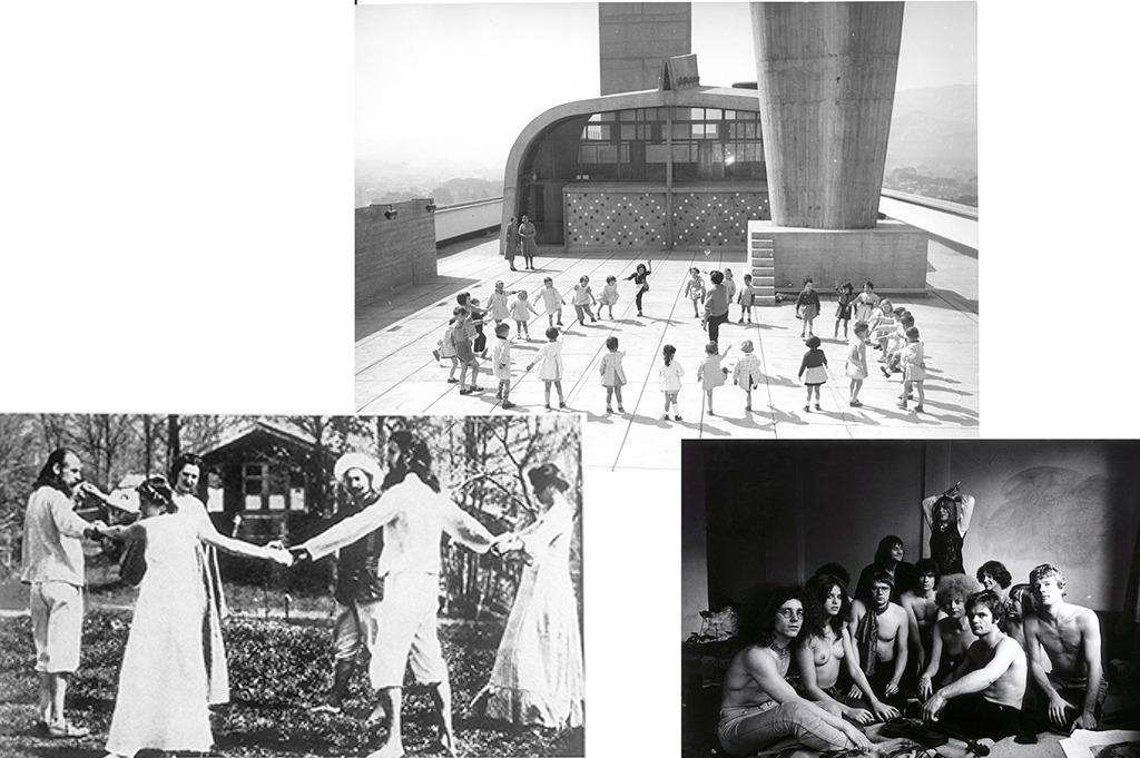 """Ringelietz mit Anfassen: Ideen, wie ein Mensch im Zusammenleben sein Glück finden möge, gab und gibt es reichlich. 1904 gründeten Idealisten die Kolonie Monte Verita im schweizerischen Ascona; das Dach von Le Corbusiers """"Unité d'habitation"""" (1947) bot als Ausgleich zu kleinen Wohnungen Freiraum für alle; und die """"Kommune I"""" konfrontierte 1967 als politisch ambitiöse WG das spießige Bürgertum mit der Kritik an der Kleinfamilie. (Bilder: Fondazione Monte Verita, Fondation Le Corbusier / VGBild-Kunst; Werner Bokelberg)"""