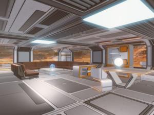 Wohnen auf dem Mars: Wohnzimmer eines auf 2050 datierten Bauprojektes im Portal Immoscout (Bild: Spaceloft, Immoscout)