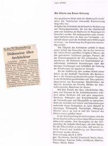 """An der TU Braunschweig zeigten aufmüpfige Ideen später als anderorts Wirkung. 1972 sah sich die Professorenschaft (u. a. Hansmartin Bruckmann, Konrad Hecht, Walter Henn ...) zu einer """"Charta"""" genötigt, die sogar in der Zeitschrift werk veröffentlicht wurde. (Bild: Archiv Dechau)"""