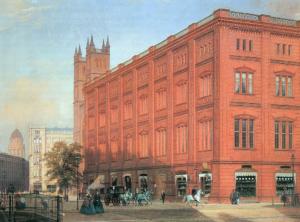 Eduard Gaertner : Schinkels Bauakademie, Gemälde von 1868 (Bild: Wikipedia, Zeno.org, ID-Nummer 20004023463)