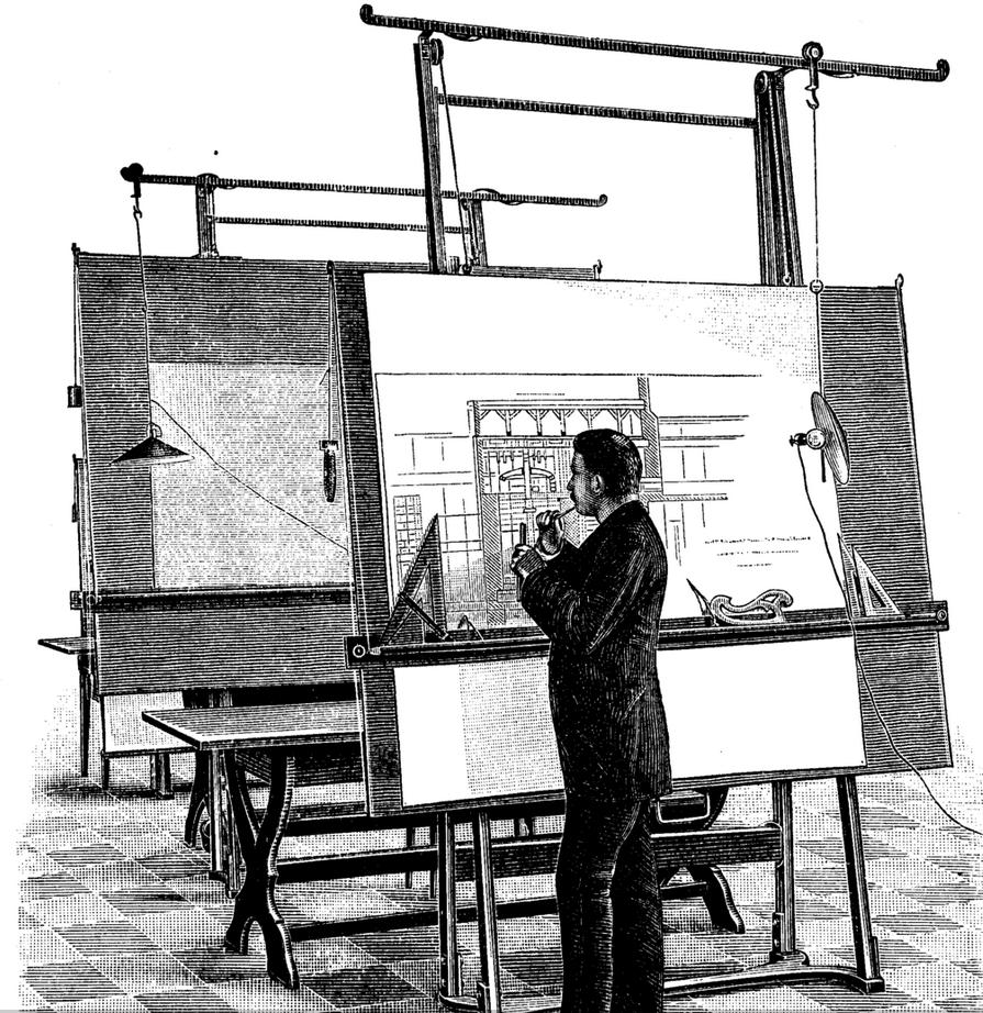 Holzschnitt von 1893: Architekt am Reißbrett (Bild: Wikipedia)