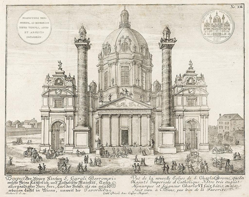 Fischer von Erlachs Entwurf der Karlskirche in Wien, Zeichnung von 1716