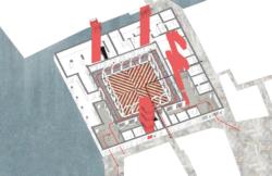 Neue Erschließung der Verkaufsebenen mit roten Rolltreppen (Bild: OMA Office)