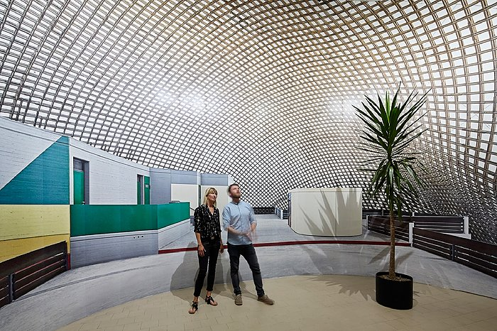 Die Holzschale war anlässlich der Bundesgartenschau in Mannheim 19** als temporäre Blumenhalle gebaut worden. (Bild: Veranstalter)