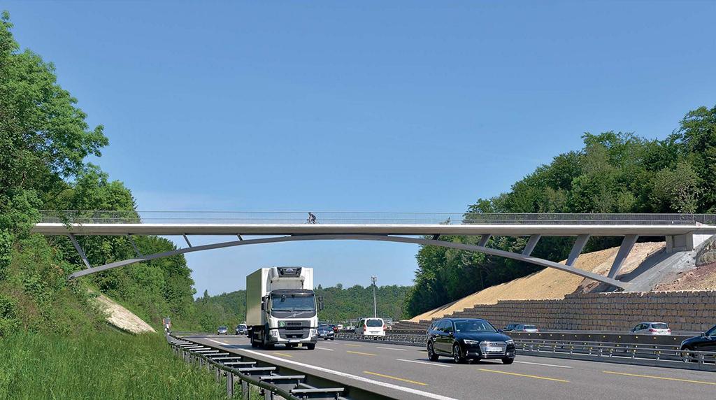 """Die elegante Brücke """"Rotes Steigle"""" über die A8 (Schlaich Bergermann und Partner, Andreas Keil) perfektioniert einen Konstruktionstypus. (Bild: Burghard Walther)"""