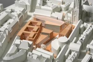 KSP Engel und Zimmermann gewannen 2005 den städtebaulichen Ideenwettbewerb Technisches Rathaus. (Modell, © ANP Kassel)