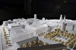 Dorotheen Quartier, 1. Entwurf des Büros Behnisch Architekten, die den 1. Preis gewonnen hatten und diesen infolge weitreichender Diskussionen verändert hatten. (Bild: Stuttgarter Zeitung, Steinert)