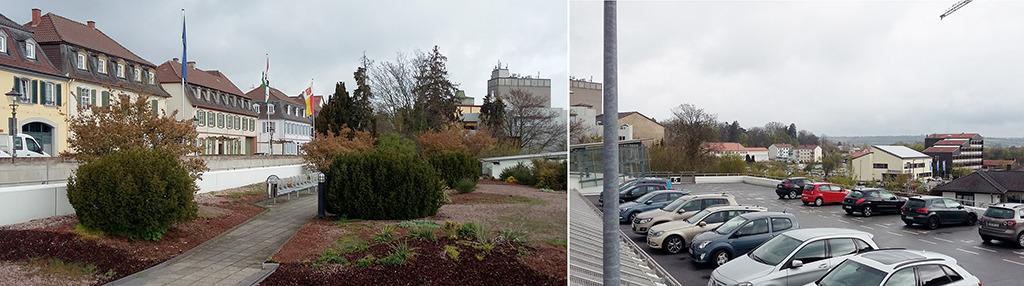 Ehemalige Schlossfreiheit, jetzt Parkdeck mit unverbaubarer Aussicht. Die Abkehr von der autogerechten Stadt allein bietet noch keine Idee für den attraktiven öffentlichen Raum. (Bild: Wolfgang Bachmann)