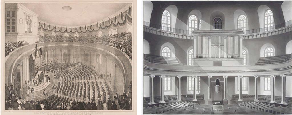 Eröffnung der Nationalversammlung (mit abgehängter Zwischendecke) am 18. Mai 1848, Kreidelithografie, Historisches Museum Frankfurt; rechts: Innensicht der Paulskirche mit Empore, etwa 1833, Tuschezeichnung (Hiistorisches Museum Frankfurt)