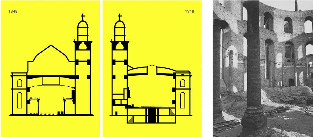Links: Schnitt durch die Paulskirche im Zustand 1848 und 1948 (Grafik: Feigenbaumpunkt); rechts daneben die Paulskirche während der Entrümmerung 1947 (Foto: Elisabeth Hase, Robert Mann Gallery, New York)