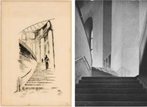 Links: Treppenaufgang zum Saal, etwa 1946, Planungsgemeinschaft Paulskirche. Kohlezeichnung, Deutsches Architekturmuseum; rechts: Treppenaufgang etwa 1948 (Foto: Artur Pfau, Institut für Stadtgeschichte)