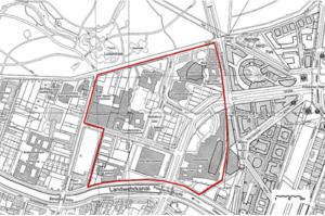 Katasterplan 2004, Grundlage für den damaligen Workshop zur Gestaltung des Kulturforums; die Potsdamer Straße zerschneidet den öffentlichen Raum in verheerender Wirkung. (Bild: Stadtentwicklung Berlin)