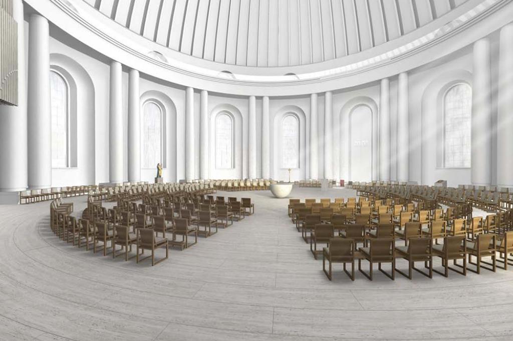 2014 mit dem ersten Preis ausgezeichnet: Entwurf zur Neufassung der Hedwigskathedrale von Sichau ] Walter, Leo Zogmayer (Bild: diözesanarchiv.de)