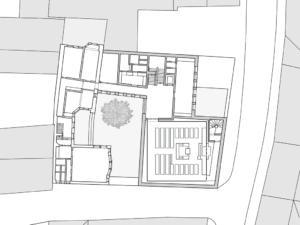 Grundriss Obergeschoss; die leichte Verdrehung des Synagogenraums ergibt sich aus dessen Ausrichtung nach Osten.