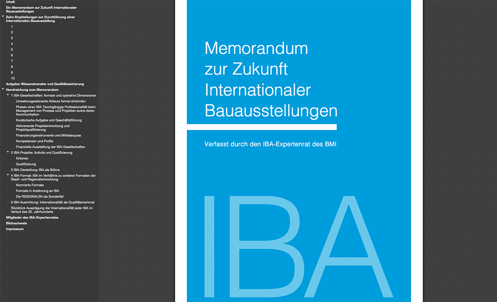 2017 aktualisert: Das Memorandum zur Zukunft Internationaler Bauausstellungen, verfasst durch den IBA-Expertenrat des BMI