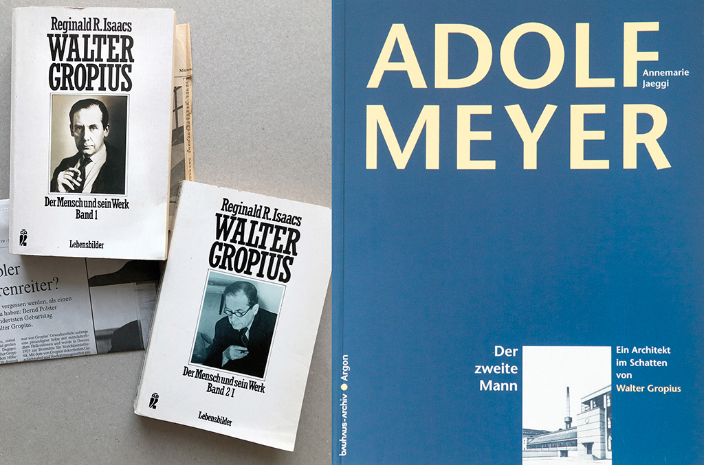 Das intendierte Nachleben des geschickten Selbstdarstellers beschäftigt die Architekturgeschichte: Reginald R. Isaacs: Walter Gropius. Der Mensch und sein Werk. 2 Bde., 1984