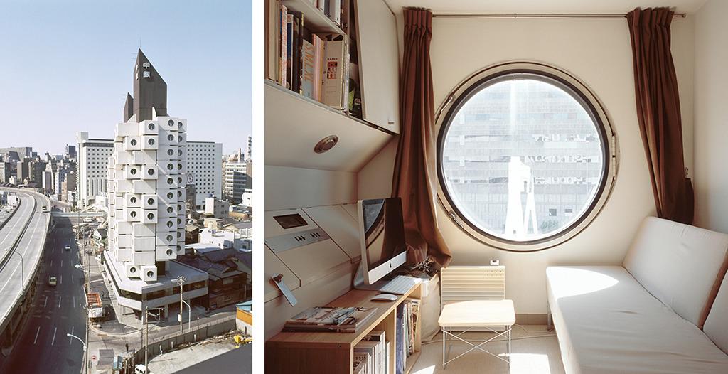 Links: Der Capsule Tower von Kishō Kurokawa in Tokio, 1970–1972 (© Tomio Ohashi); rechts: Noritaka Minami, A504, Tokio, 2012 (© Noritaka Minami)