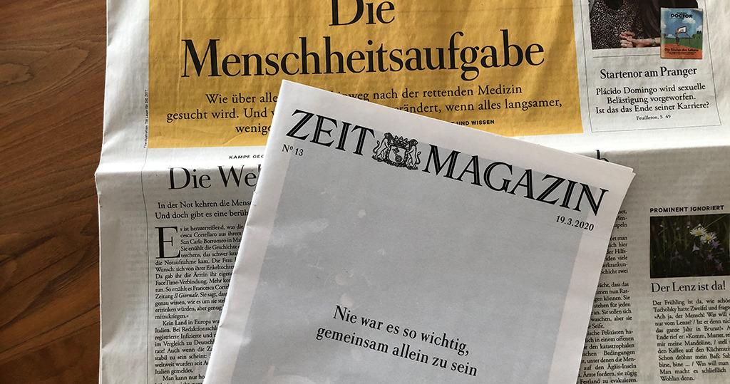 """Ausgabe der ZEIT vom 19. März 2020: """"gemeinsam allein"""" beschrieb früher eine Ehekrise (Bild: Ursula Baus)"""
