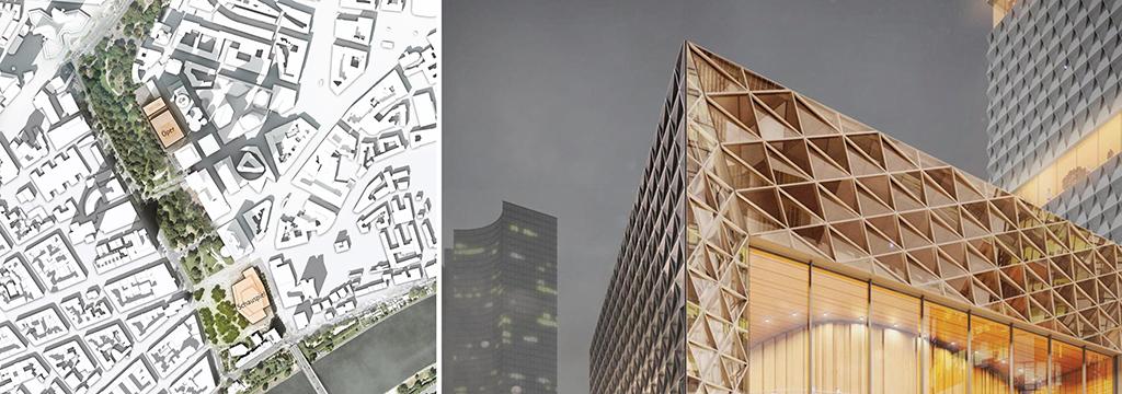 Skizzen von gmp für eine Kulturmeile und ein Opernhaus in Frankfurt am Main (Bilder: gmp Architekten)