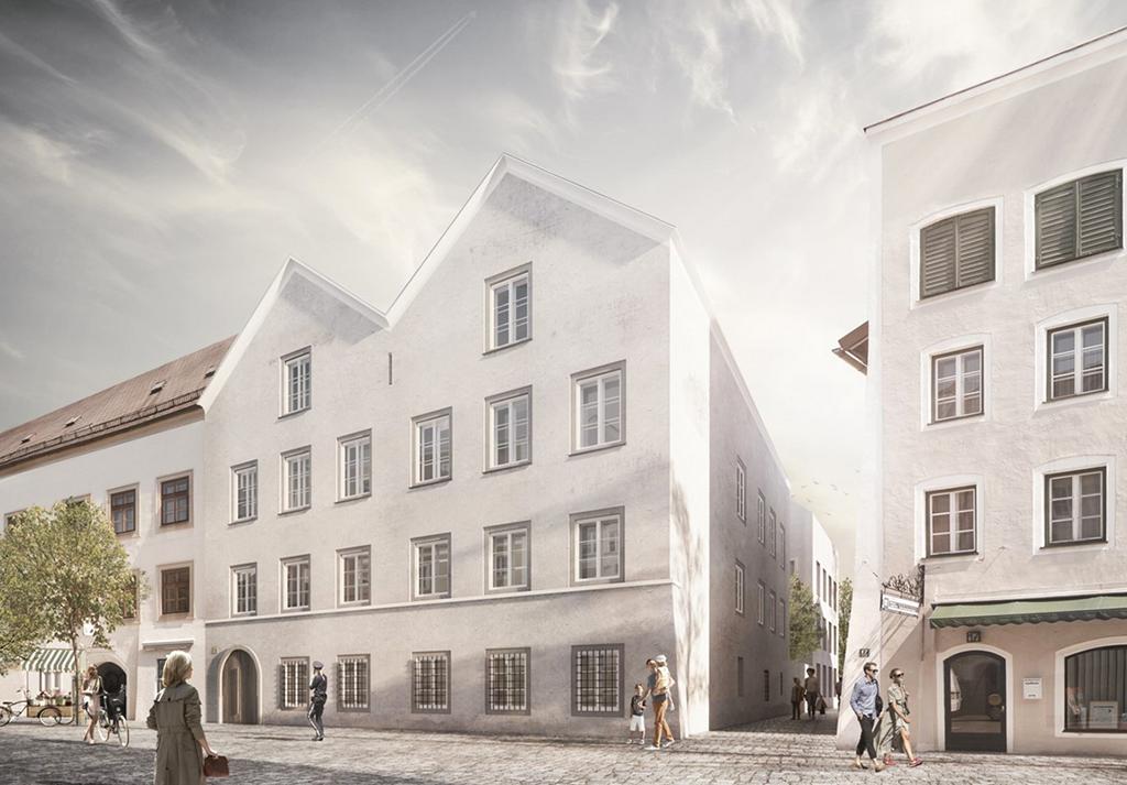Entwurf für den Um- und Erweiterungsbau von Hitlers Geburtshaus in Braunau am Inn von marte marte Architekten