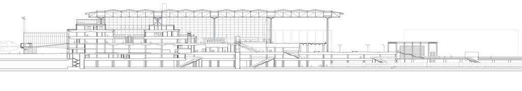 Schnitt in der Flughafenachse zwischen Landseite und Flugfeld ( gmp architekten)