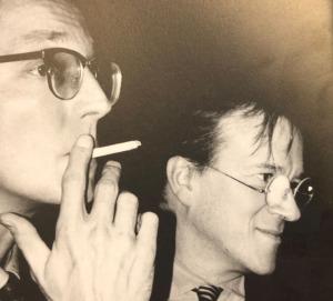 Michael Mönninger (damals FAZ) und Christoph Mäckler (damals noch nicht im Buisiness, sondern Entwerfer von peotisch gekrönten Hochhäusern am Rand der Frankfurter Innenstadt (Bild: Aedes)
