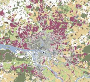 Hamburg, Suburbia; in allen in diesem Beitrag gezeigten Karten sind – auf der Grundlage von schwarzplan.eu – die Einfamilienhaus-Gebiete rot dargestellt. (© 2020 Hoidn Wang Partner)
