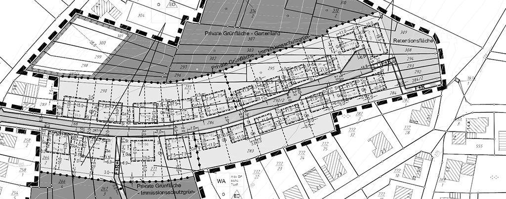 Häuschen für Häuschen artig an der Straßen (Bebauungsplan, Screenshot)