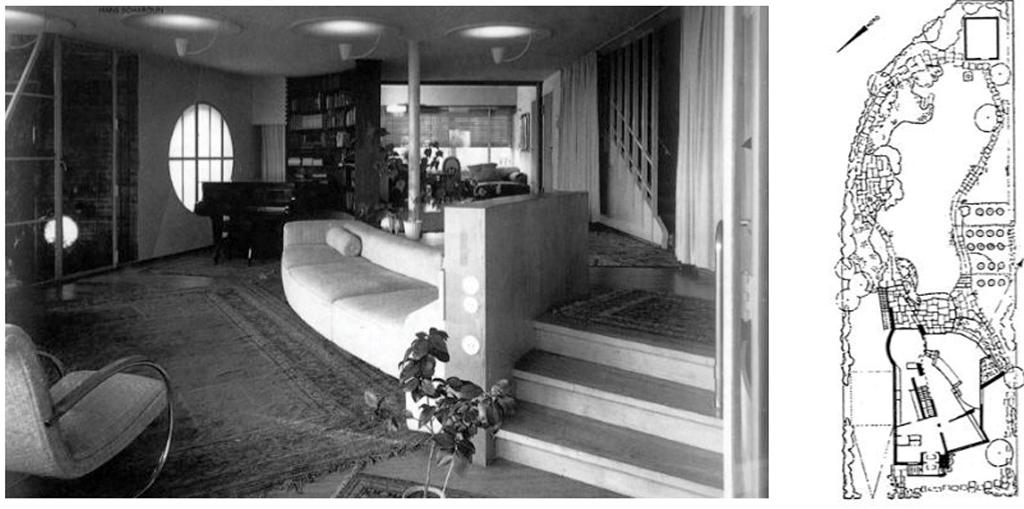 Haus Baensch, Blick in den Wohnbereich; Lageplan mit Gartenanlage (Bild: L'Architecture d'aujoud'hui, 320, 1999)