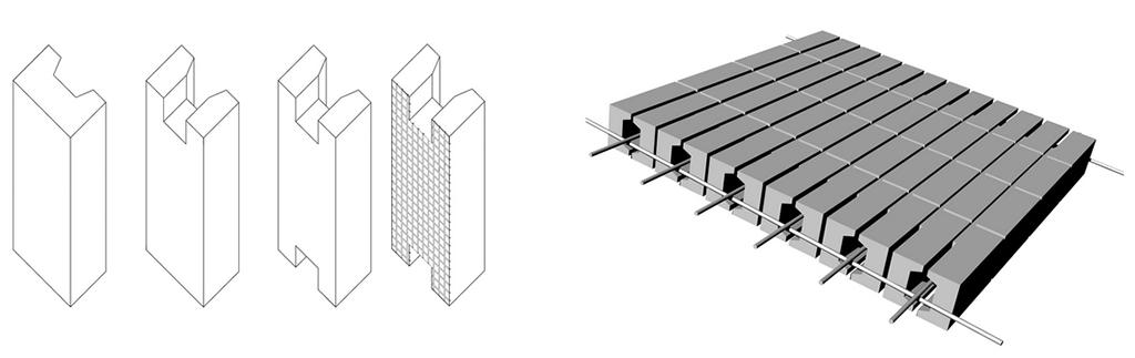 Ziegelvarianten und Aufbau des bewehrten Fertigteil-Elementes (Bild: KGBauko)