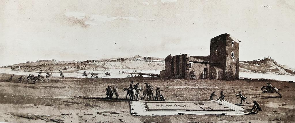 Jean-Pierre-Louis Houël (1735-1813): Szene vor dem Äskulap-Tempel in Agrigent / Auqatinta.Wie eine Picknick-Decke legt eine Reisegruppe den Tempelgrundriss aus. (Bild: aus dem besprochenen Band)