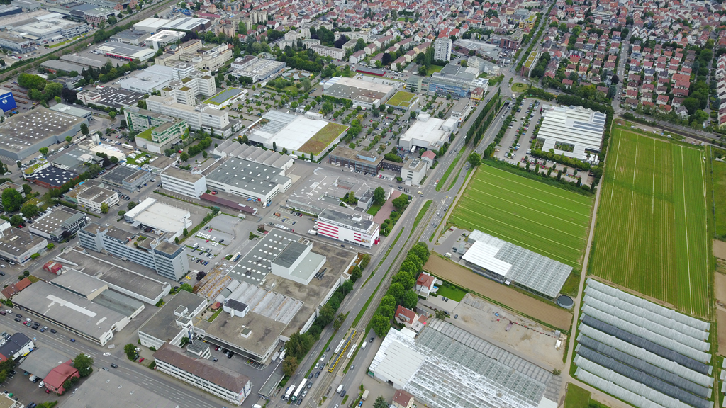 Luftbild des Projektgebiets »AGRICULTURE meets MANUFACTURING« in Fellbach