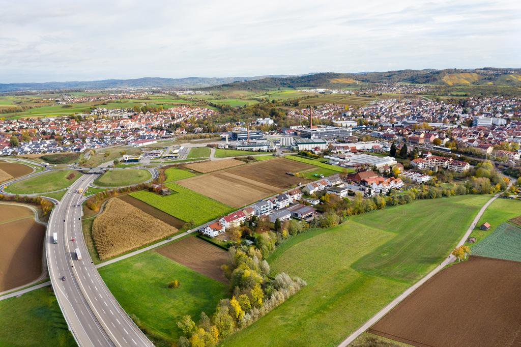 Luftbild: Gelände des IBA'27-Projekts »Produktives Stadtquartier Winnenden«, 02.11.2020