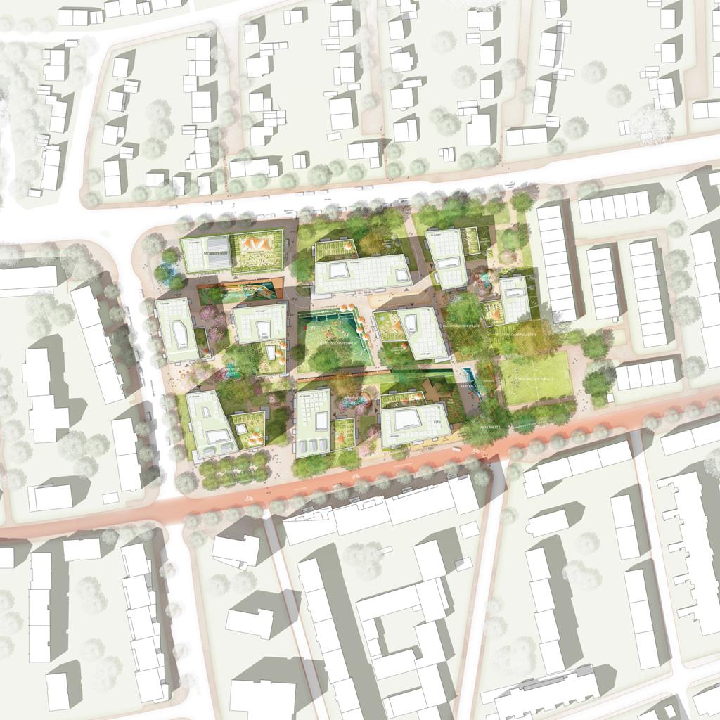 Lageplan zum städtebaulichen Entwurf »Am Rotweg« (1. Preis: ISSS research | architecture | urbanism, Berlin & topo*grafik, Marseille; Bild: ISSS / topo*grafik)