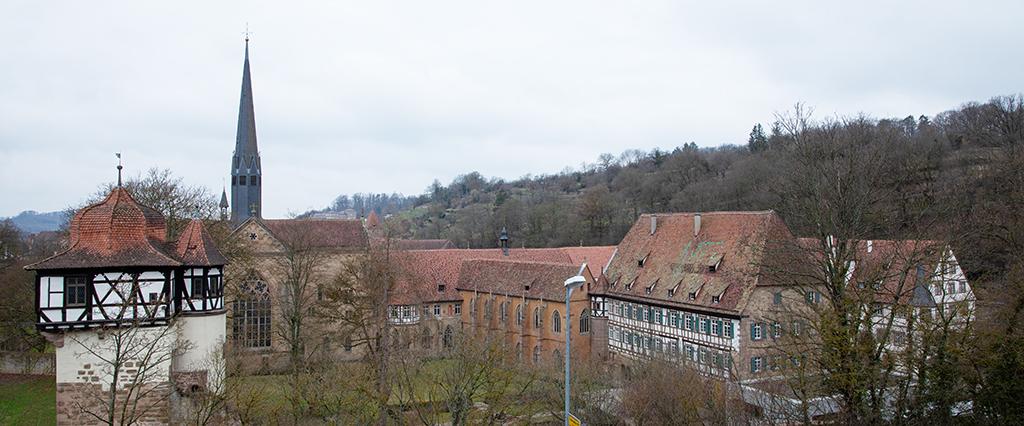 März 2021: Noch verdeckt das Laub nicht den Blick auf die Klosteranlage. (Bild: Wilfried Dechau)