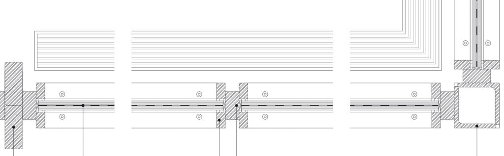 Markierungen von links: Fassadenpfosten aus zwei Stahlvollprofilen 50/125 mm, Bestand; VSG aus 2 × TVG (teilvorgespanntes Glas) Weißglas 12 mm, verklebt mit Sentry-Glas-Folie; Glashalteleiste 25/55 mm; Rahmen Stahlvollprofil 40/80 mm, Bestand; Eckpfosten 130/130 mm, zusammengesetzt aus Stahlprofilen (Bestand)