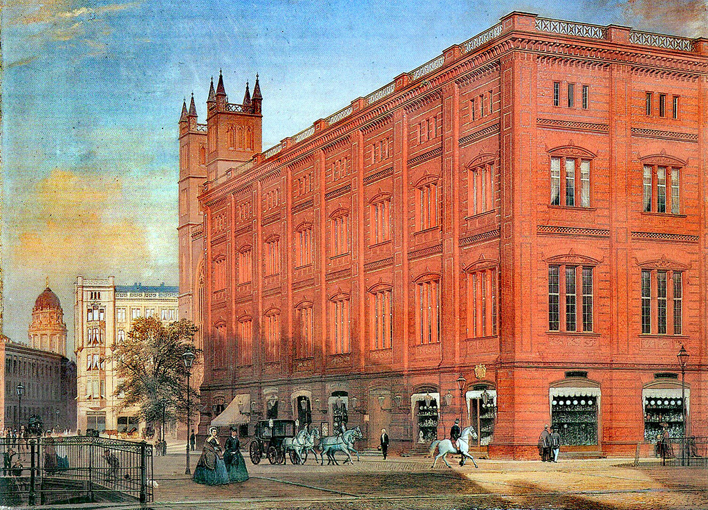 Darstellung der Bauakademie von Eduard Gaertner, 1868 (Wikimedia gemeinfrei)