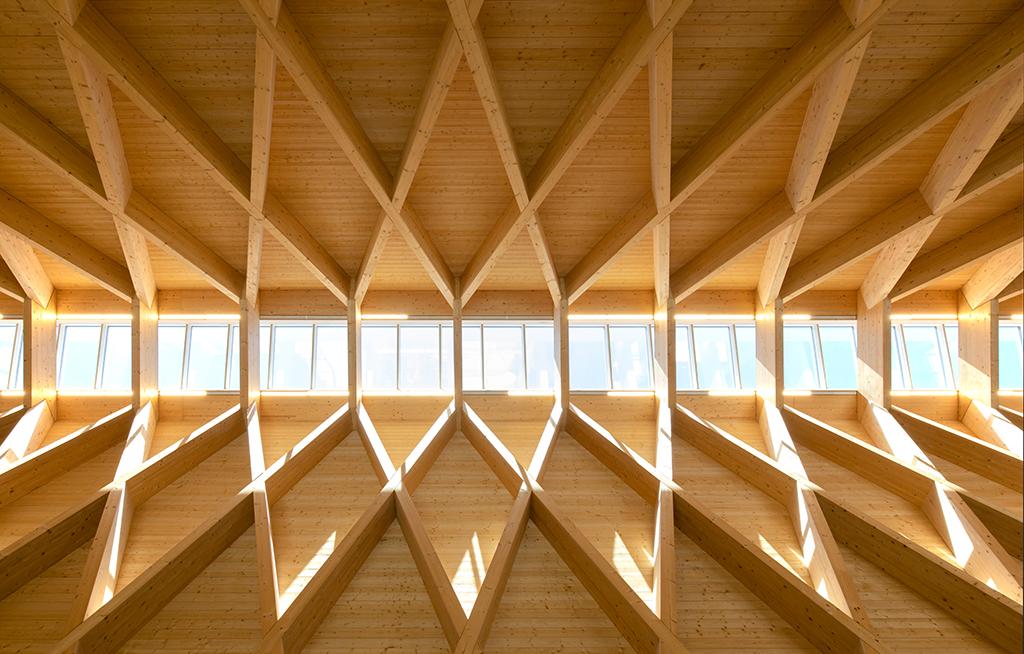 Assoziert sie, aber ist keine Zollinger-Bauweise: Die Holzkonstruktion (Bild: Wilfried Dechau)