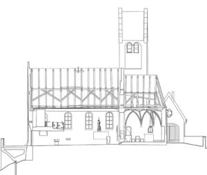 Schnitt; rechts die Trauerhalle
