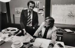 Volkwin Marg und Meinhard von Gerkan in ihrem Büro 1978