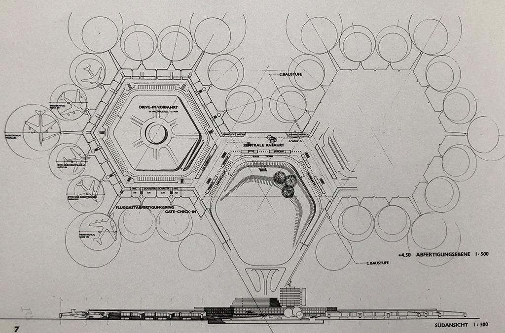 Wie alle Abbildungen im Buch stammen auch die Pläne aus der Entstehungszeit des Flughafens.