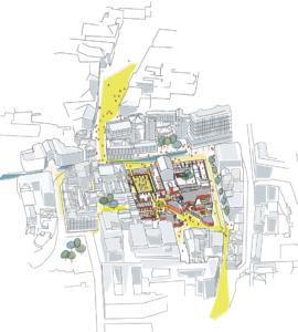 Die Vorgelschau zeigt das dicht bebaute, komlex gefügte Quartier in Mestre. (© Sauerbruch Hutton)