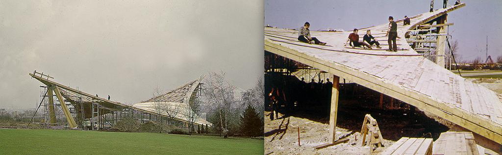 1968 wurde das Dortmunder Sonnensegel errichtet. (Bilder: TUM. Lehrstuhl für Holzbau und Baukonstruktion, Prof. Winter)