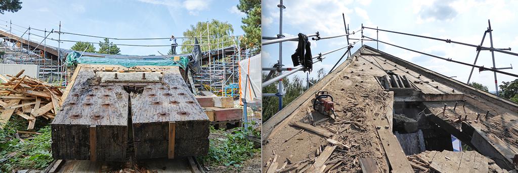 Links der Fußpunkt der Stütze im Zustand 2019 (Bild: Hans Jürgen Landes), rechts die freigelegte Holzmembran mit entfernten, schadhaften Bereichen (Bild: Thomas Knappheide)